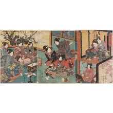 二代歌川国貞: New Year Amusements: A Manzai Dance for Murasaki (Hatsuharu no asobi Murasaki manzai) - ボストン美術館