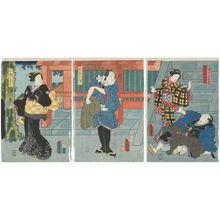 歌川国貞: Actors Nakamura Tsuruzô I as Yokokawa Jôzaemon, Nakamura Kôzô I as the Dancer (Odoriko) Okô (R), Bandô Hikosaburô IV as Kinmon no Izabu (C), and Onoe Kikujirô as Koume no Oyoshi (L) - ボストン美術館