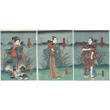 Utagawa Kunisada: Actors Ichikawa Kodanji IV as Matsudaiya Shirobei (R), Bandô Takesaburô I as Matsudaiya Kogorô (C), and Iwai Kumesaburô III as Kogorô's Wife (Nyôbô) Osen (L) - Museum of Fine Arts