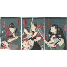 Utagawa Kunisada: Actors Matsumoto Kunigorô I(?) as Iwahashi Gunzô, Arashi Rikan III as Masaki Shôzaburô (R); Kataoka Gadô II as Hanaya Tokubei, Ôtani Tokuji as Mokari Chikuan (C); Nakamura Daikichi III as Hanaya Nyôbô Ofusa, Ôtani Tomoemon IV as Wakamono Goroku (L) - Museum of Fine Arts