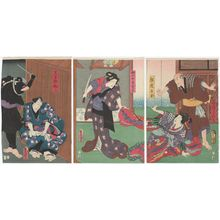 歌川国貞: Actors Seki Sanjûrô III as Shirozakeuri Shinbei, Nakamura Kamenojô I as Shinzô Shiratama (R), Onoe Kikugorô IV as Sukeroku's Wife (Nyôbô) Omaki (C), and Ichikawa Kodanji IV as Kurotegumi no Sukeroku (L) - ボストン美術館