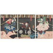 Utagawa Kunisada: Actors Kataoka Nizaemon VIII as Rai Kunitoshi (R), Ichikawa Danzô VI as Gorobei Masamune (C), and Onoe Waichi II as His Son (Segare) Dankurô (L) - Museum of Fine Arts