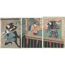 Utagawa Kunisada: Actors Kawarazaki Gonjûrô I as Matsubaya Bunzô (R), Onoe Kikugorô V as Matsubaya Matsuyama (C), unidentified actor as a Police Officer (Torite), and Ichikawa Kodanji IV as Yosobei's Son (Segare) Yokichi (L) - Museum of Fine Arts