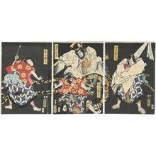 Utagawa Kunisada: Actors Ichikawa Kodanji IV as Toneri Matsuômaru (R), Kawarazaki Gonjûrô I as Toneri Umeômaru, Asao Yoroku II as Fujiwara Shihei (C), and Bandô Hikosaburô V as Toneri Sakuramaru (L) - Museum of Fine Arts