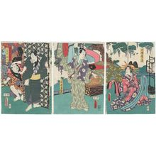 Utagawa Kunisada: Actors Iwai Kumesaburô III as Miuraya Takao (R), Kataoka Nizaemon VIII as Ishii Tsuneemon (C), Nakamura Fukusuke I as Ishii Shimobe Tôsuke, and Ôtani Tokuji II as Ittô Sachûta (L) - Museum of Fine Arts
