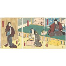 Utagawa Kunisada: Actors Seki Sanjûrô III as Ôdera Shôbei (R), Ichikawa Kodanji IV as Oniazami Seikichi (C), Iwai Kumesaburô III as Izayoi Osayo (L) - Museum of Fine Arts