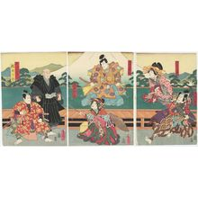 Utagawa Kunisada: Actors Onoe Waichi II as Nenoi no Koyata, Bandô Tamasaburô II as Keisei Ôsakayama (R), Ichikawa Ichizô III as Kiso Yoshinaka, Ichikawa Shinsha I as Shinzô Utsushie (C), Ichikawa Danzô VI as Norikiyo Nyûdô Saigyô, and Ichikawa Kuzô III as Ino Rokurô (L) - Museum of Fine Arts