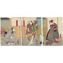 Utagawa Kunisada: Actors Iwai Kumesaburô III as the Younger Sister (Imôto) Oren (R), Onoe Waichi II as the Masamune Heir (Sôryô) Dankurô (C), and Kataoka Nizaemon VIII as Kichisuke, actually Rai Kunitoshi (L) - Museum of Fine Arts