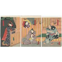 歌川国貞: Actors Ichikawa Danjûrô VI as Gorobei Masamune (R), Kataoka Nizaemon VIII as Raikunitoshi, Onoe Waichi II as Dankurô (inset) (C), and Iwai Kumesaburô III as the Daughter (Musume) Oren (L) - ボストン美術館