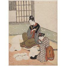 Suzuki Harunobu: Twilight Snow of the Floss-stretching Form, from the series Eight Views of the Parlor (Zashiki hakkei) - Museum of Fine Arts