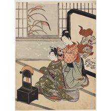 鈴木春信: Autumn Moon of the Mirror, from the series Eight Views of the Parlor (Zashiki hakkei) - ボストン美術館