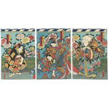 Utagawa Kunisada: Actors Bandô Kamezô I as Kiichi Hôgen (R), Sawamura Tanosuke III as Minazuru-hime, Ichimura Uzaemon XIII as Shimobe Torazô (C), and Nakamura Shikan IV as Shimobe Chienai (L) - Museum of Fine Arts