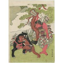 北尾重政: Kintarô Judging the Wrestling Match of a Monkey and a Bear - ボストン美術館
