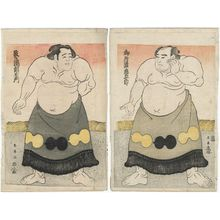 勝川春英: Sumô Wrestlers Goshoura Chûgorô and Tsuzumigataki Chôemon - ボストン美術館