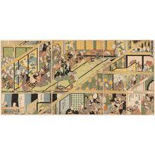 歌川広重: Imaginary Scene of a Private Kabuki Performance, a Triptych (Mitate zashiki kyôgen, sanmaitsuzuki) - ボストン美術館