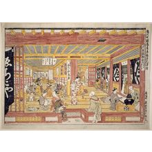 Okumura Masanobu: Large Perspective View of the Interior of Echigo-ya in Suruga-chô (Suruga-chô Echigoya gofukuten ô-ukie) - Museum of Fine Arts