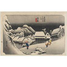 歌川広重: Kanbara: Night Snow (Kanbara, yoru no yuki), second state, from the series Fifty-three Stations of the Tôkaidô Road (Tôkaidô gojûsan tsugi no uchi), also known as the First Tôkaidô or Great Tôkaidô - ボストン美術館
