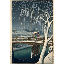 Kawase Hasui: Evening Snow at Edogawa (Kure no yuki [Edogawa]) - Museum of Fine Arts