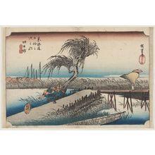 Utagawa Hiroshige: Yokkaichi: Mie River (Yokkaichi, Miegawa), from the series Fifty-three Stations of the Tôkaidô Road (Tôkaidô gojûsan tsugi no uchi), also known as the First Tôkaidô or Great Tôkaidô - Museum of Fine Arts