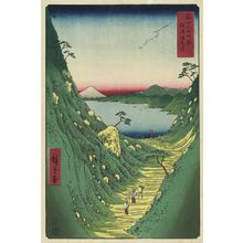 歌川広重: Shiojiri Pass in Shinano Province (Shinano Shiojiri tôge) , from the series Thirty-six Views of Mount Fuji (Fuji sanjûrokkei) - ボストン美術館