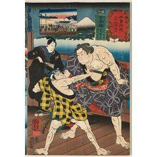 歌川国芳: Nihonbashi: Ashikaga Yorikane, Narukami Katsunosuke, and Ukiyo Tohei, from the series Sixty-nine Stations of the Kisokaidô Road (Kisokaidô rokujûkyû tsugi no uchi) - ボストン美術館