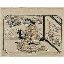 Hishikawa Moronobu: A Young Man Embracing a Standing Courtesan, from an untitled series of twelve erotic prints - Museum of Fine Arts