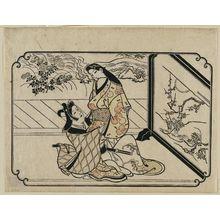 菱川師宣: A Young Man Embracing a Standing Courtesan, from an untitled series of twelve erotic prints - ボストン美術館