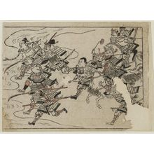 Hishikawa Moronobu: A group of two mounted warriors and seven foot soldiers rush to battle - Museum of Fine Arts