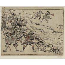菱川師宣: A mounted warrior and five foot-soldiers; two more across the river rush to battle. - ボストン美術館