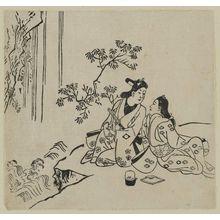 Hishikawa Moronobu: Lovers by a waterfall (Sugata-e hyakunin isshu?) - Museum of Fine Arts