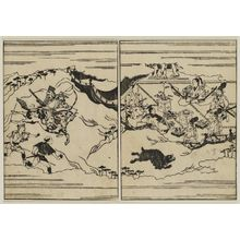 Hishikawa Moronobu: At right, a party of men banqueting within a curtained area; outside, a warrior shooting at a bear. Probably from Soga Monogatari of 1663. - Museum of Fine Arts