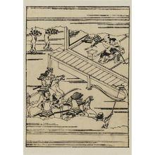 菱川師宣: Attempted suicide of Zenjibo (?) as warriors rush up on horseback - ボストン美術館