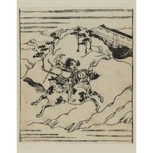 Hishikawa Moronobu: Warrior brandishing sword and riding furiously a spotted horse - Museum of Fine Arts