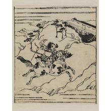 菱川師宣: Warrior brandishing sword and riding furiously a spotted horse - ボストン美術館