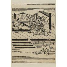 菱川師宣: An artist painting a portrait of the famous Chinese beauty Wang Chao-chun; the emperor stands by - ボストン美術館