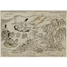 Hishikawa Moronobu: Noblemen Drinking in a Garden, from the book Hana awase (Contest of Flowers) - Museum of Fine Arts