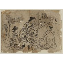 Okumura Masanobu: The Hana no en Chapter from The Tale of Genji (Genji Hana no en), from a series of Genji parodies - Museum of Fine Arts