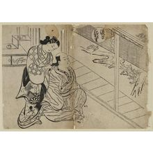 Okumura Masanobu: The Hanachirusato Chapter from The Tale of Genji (Genji Hanachirusato), from a series of Genji parodies - Museum of Fine Arts