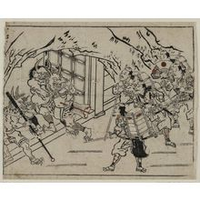Hishikawa Moronobu: Raiko and His Retainers at the Entrance to Shutendoji's Cave - Museum of Fine Arts
