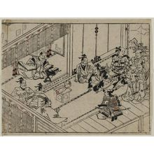 Hishikawa Moronobu: The Rashomon story (2). Raiko presents a demon's arm for inspection at court. - Museum of Fine Arts
