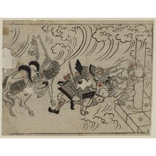 Hishikawa Moronobu: The Rashoman story (1). The demon pulling the helmet of Watanabe no Tsuna at Rashoman - Museum of Fine Arts