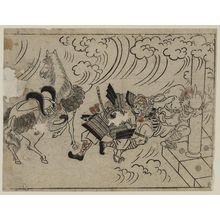 菱川師宣: The Rashoman story (1). The demon pulling the helmet of Watanabe no Tsuna at Rashoman - ボストン美術館