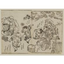 Okumura Masanobu: Hotei, Ebitsu, and Daikoku play music for two dancing boys - Museum of Fine Arts