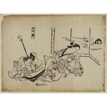 奥村政信: Courtesans Imitating the Four Sleepers (Yûkun shisui), from a set of parodies by courtesans - ボストン美術館