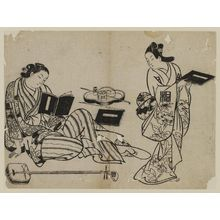奥村政信: Courtesan Reading a Book - ボストン美術館