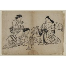 Okumura Masanobu: Courtesan and Attendants with Dolls - Museum of Fine Arts