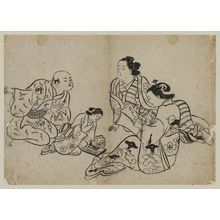 奥村政信: Two Courtesans, One Writing, and Attendants - ボストン美術館