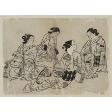 奥村政信: Two women playing samisen, two others listen - ボストン美術館