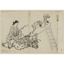 奥村政信: A Ladder As a Pillow for Fukuroku (Hashigo wa Fukuroku no makura), from an untitled series of the Seven Gods of Good Fortune in the pleasure quarters - ボストン美術館