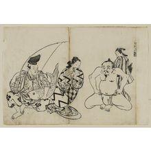 Okumura Masanobu: Hana ni utsu hadaka Ebisu. (The Naked Ebisu), from an untitled series of the Seven Gods of Good Fortune in the pleasure quarters - Museum of Fine Arts